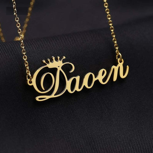 Personalized Crown Pendant Name Necklace - Happy Maker