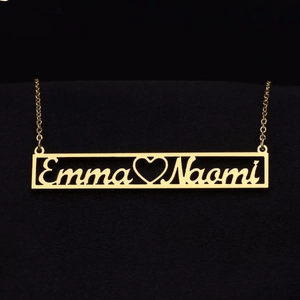 Personalized Hollow Bar Name Necklace - Happy Maker
