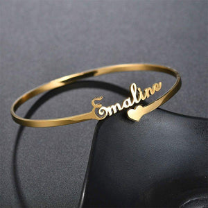 Personalized Steel Name Bangle Bracelet