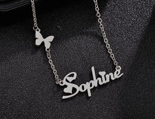 Load image into Gallery viewer, Personalized Flying Butterfly With Heart Name Necklace - Happy Maker