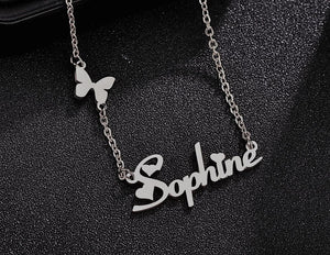 Personalized Flying Butterfly With Heart Name Necklace - Happy Maker