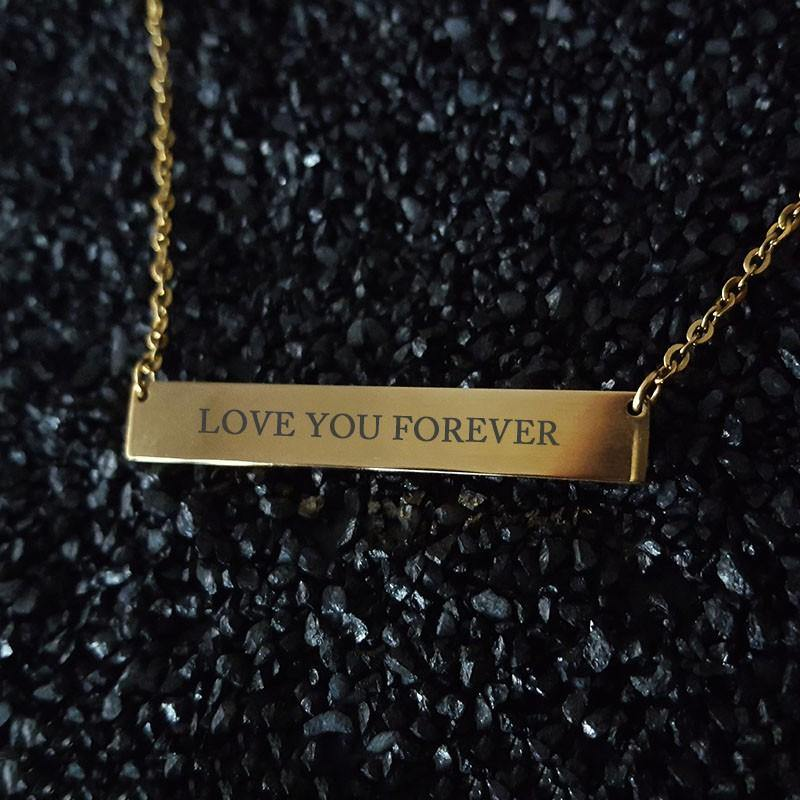Personalized Engraved Bar Name Necklace Pendant