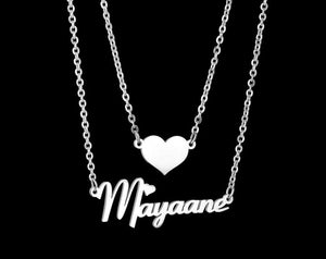 Personalized Double Chain Heart Name Necklace - Happy Maker