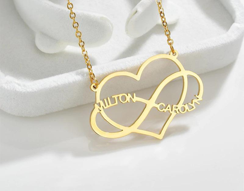 Personalized Name Necklace With Heart & Infinity - Happy Maker