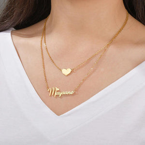 Personalized Double Chain Heart Name Necklace