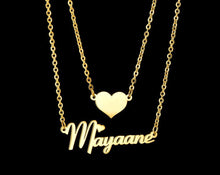 Load image into Gallery viewer, Personalized Double Chain Heart Name Necklace - Happy Maker