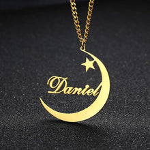 Load image into Gallery viewer, Personalized Name With Moon & Star Necklace - Happy Maker