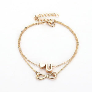 Personalized Alphabet Initial Anklet With Infinity - Happy Maker
