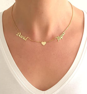 Personalized Heart Two Beautiful Name Necklace - Happy Maker