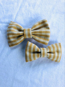 Yellow & White Gingham Classic Bow
