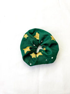 Green and Gold Metallic Scrunchie