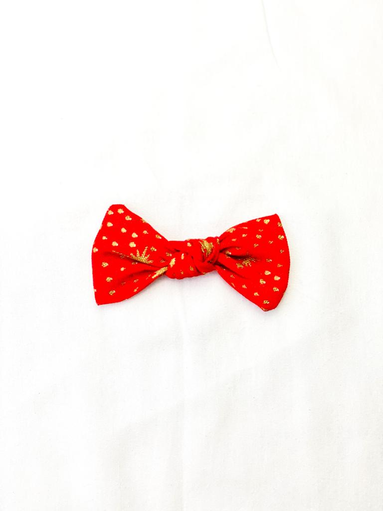 Red and Gold Metallic Bow