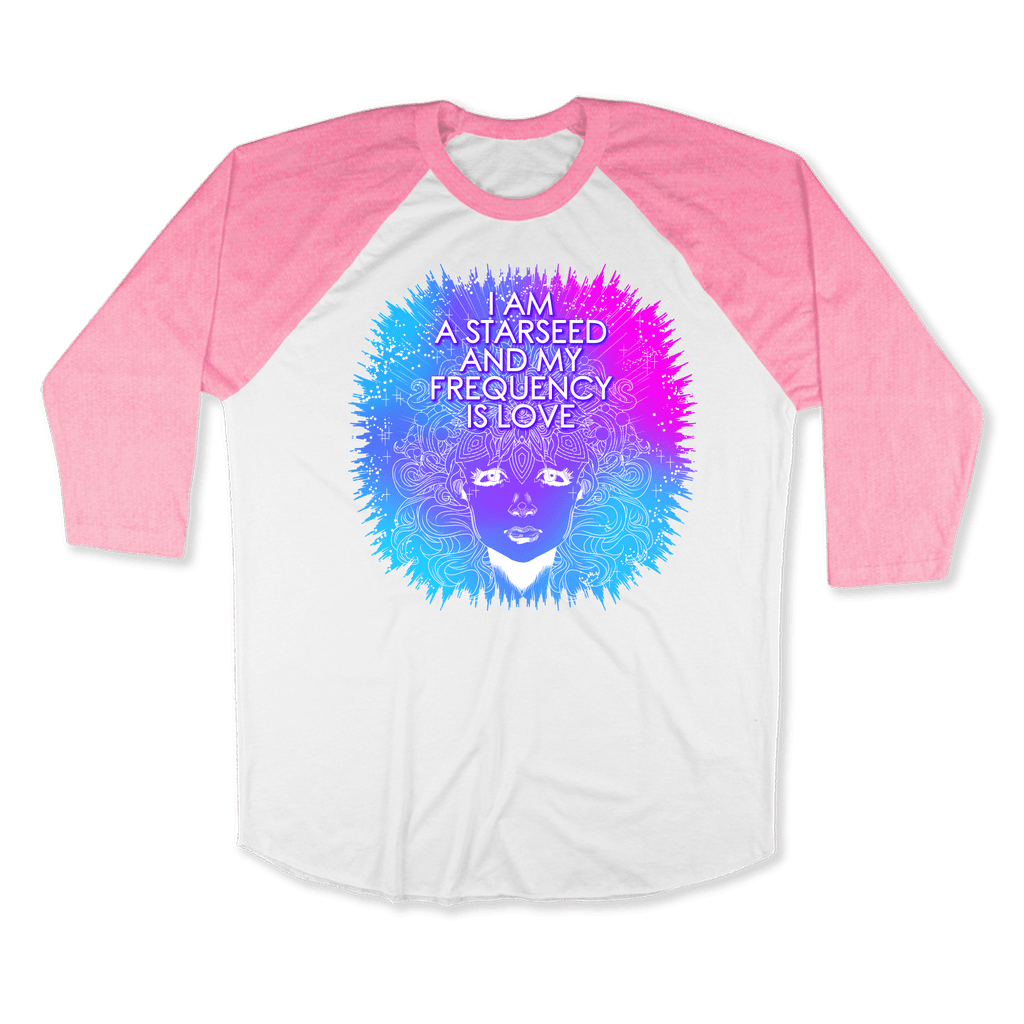 STARSEED - RAGLAN SHIRT BASEBALL T-SHIRT White Neon-Heather Pink / XS DEARSOUL