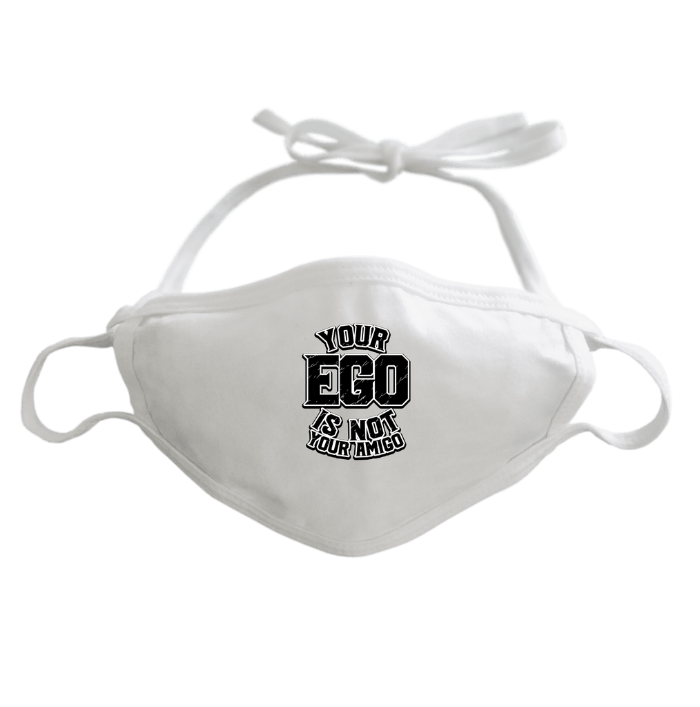 YOUR EGO NOT AMIGO - ADJUSTABLE FACE MASK MASK White DEARSOUL