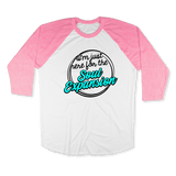 IM JUST HERE FOR THE SOUL EXPANSION-UNISEX RAGLAN - AMERICAN APPAREL White Neon-Heather Pink / S DEARSOUL