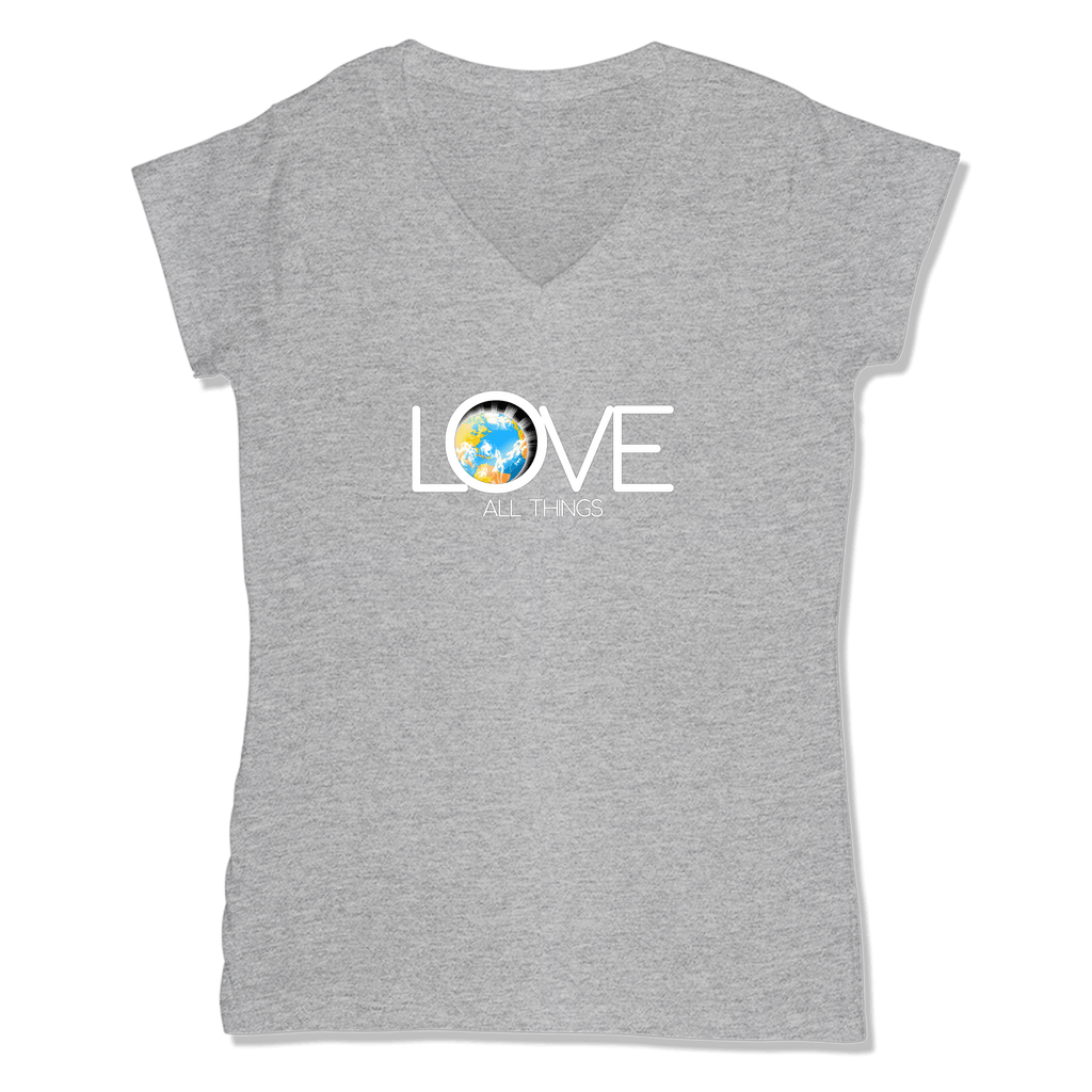 LOVE ALL THINGS - LADIES V-NECK T-SHIRT WOMEN'S V-NECK Athletic Grey / XS DEARSOUL