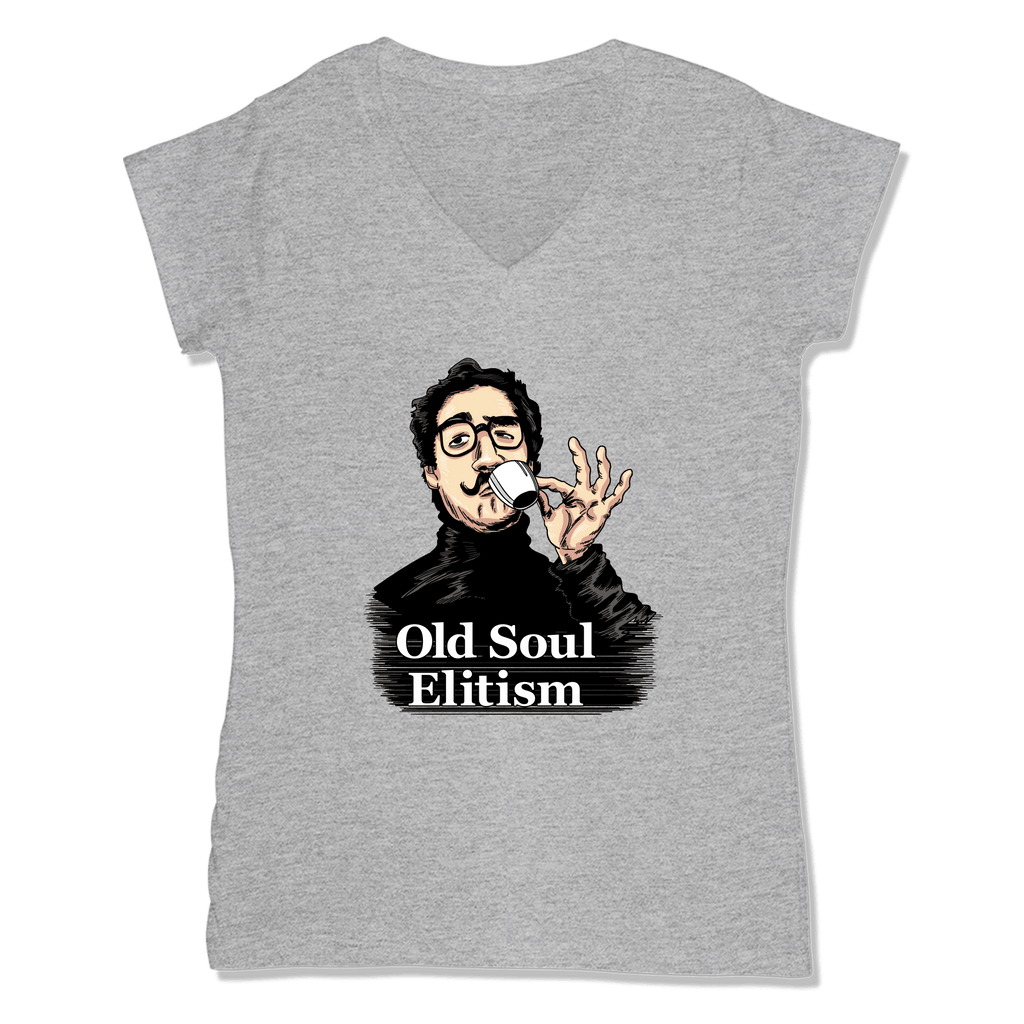 OLD SOUL ELITISM - LADIES V-NECK T-SHIRT WOMEN'S V-NECK Athletic Grey / XS DEARSOUL