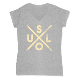 SOUL -  LADIES V-NECK T-SHIRT WOMEN'S V-NECK Athletic Grey / XS DEARSOUL