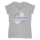 SUPER POWER - LADIES V-NECK T-SHIRT WOMEN'S V-NECK Athletic Grey / XS DEARSOUL