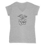 VALUED MEMBER CURCH OF SOUL - LADIES V-NECK T-SHIRT WOMEN'S V-NECK Athletic Grey / XS DEARSOUL
