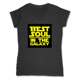BEST SOUL IN GALAXY - LADIES V-NECK T-SHIRT WOMEN'S V-NECK Charcoal Heather / XS DEARSOUL