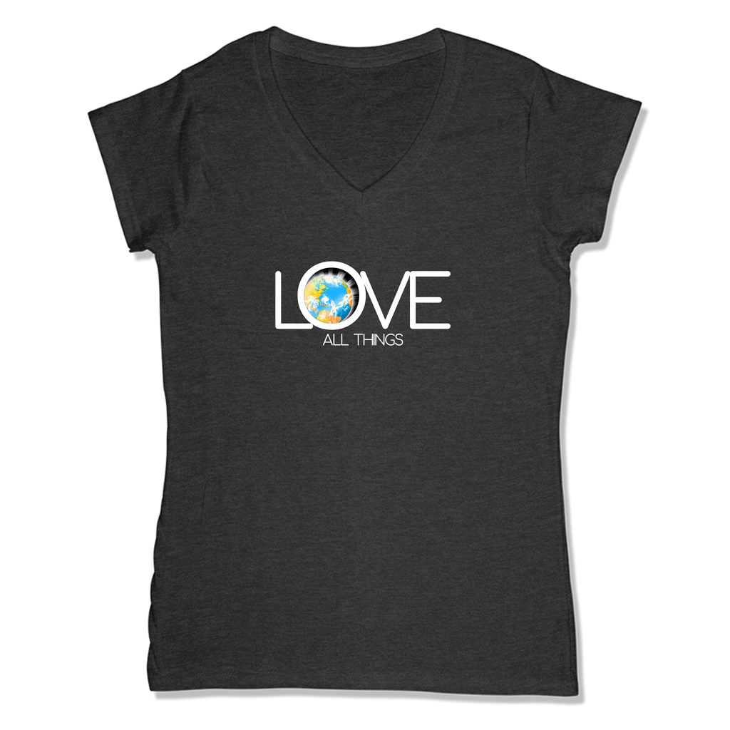 LOVE ALL THINGS - LADIES V-NECK T-SHIRT WOMEN'S V-NECK Charcoal Heather / XS DEARSOUL