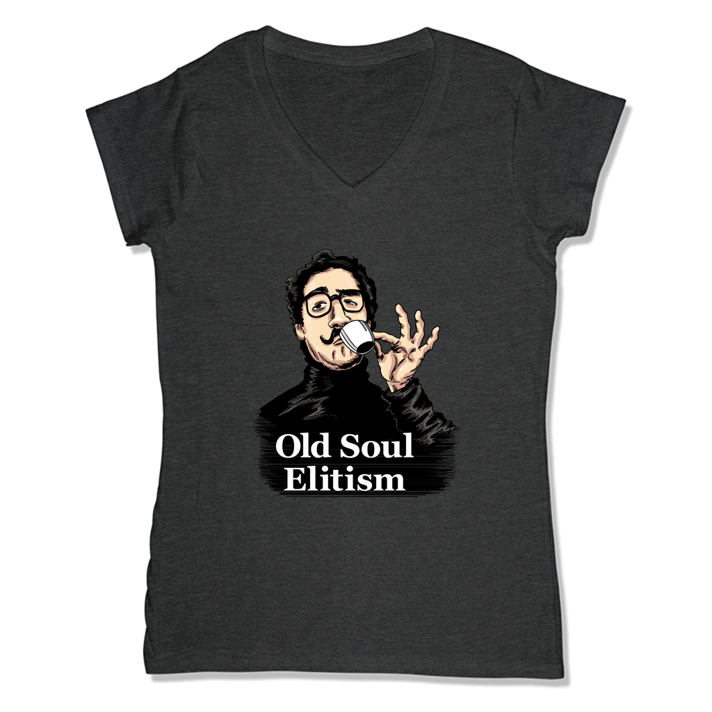 OLD SOUL ELITISM - LADIES V-NECK T-SHIRT WOMEN'S V-NECK Charcoal Heather / XS DEARSOUL