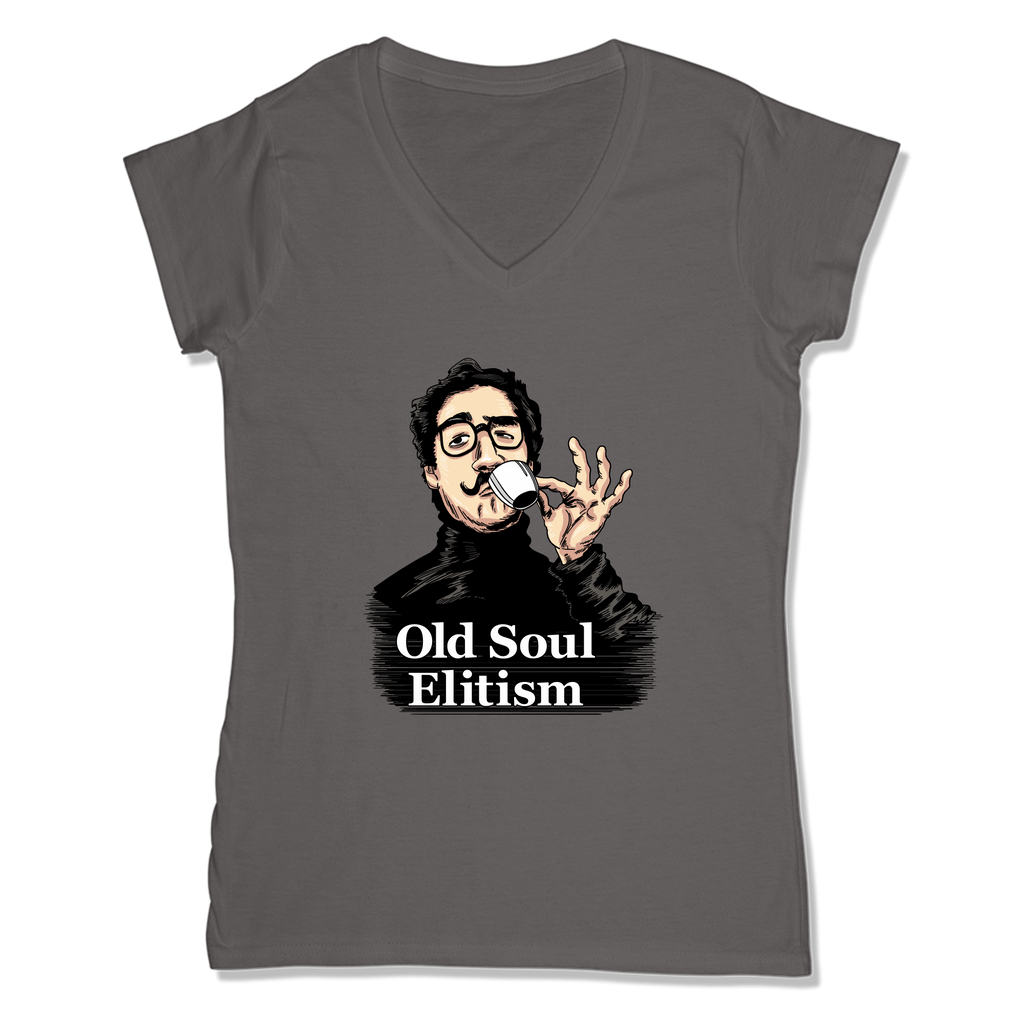 OLD SOUL ELITISM - LADIES V-NECK T-SHIRT WOMEN'S V-NECK Coal Grey / XS DEARSOUL