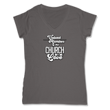 VALUED MEMBER CURCH OF SOUL - LADIES V-NECK T-SHIRT WOMEN'S V-NECK Coal Grey / XS DEARSOUL