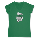 VALUED MEMBER CURCH OF SOUL - LADIES V-NECK T-SHIRT WOMEN'S V-NECK Kelly Green / XS DEARSOUL
