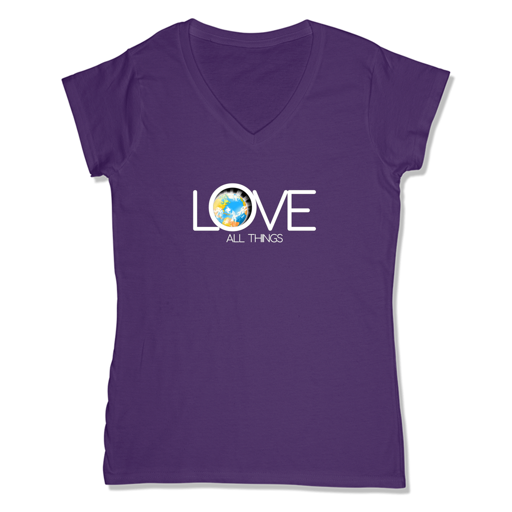 LOVE ALL THINGS - LADIES V-NECK T-SHIRT WOMEN'S V-NECK Purple / XS DEARSOUL