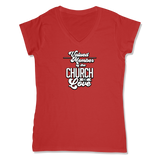 VALUED MEMBER CURCH OF SOUL - LADIES V-NECK T-SHIRT WOMEN'S V-NECK RED / XS DEARSOUL