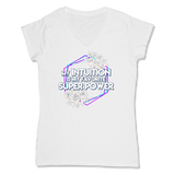 SUPER POWER - LADIES V-NECK T-SHIRT WOMEN'S V-NECK White / XS DEARSOUL