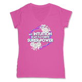 SUPER POWER - LADIES V-NECK T-SHIRT WOMEN'S V-NECK Wild Raspberry / XS DEARSOUL