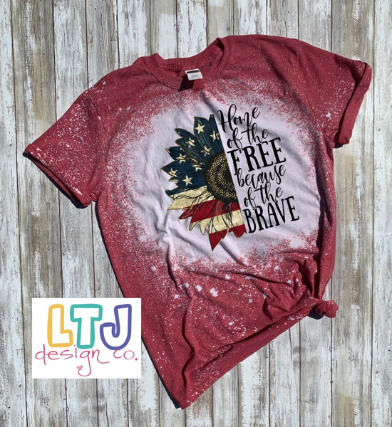 4th of July Shirt ~ Home of the Free because of the Brave Short Sleeve Bleached Shirt