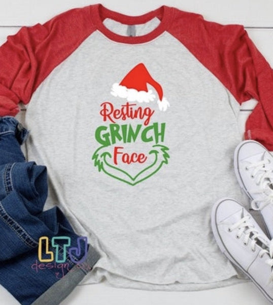 Resting Grinch Face 3/4 Sleeve Raglan ~ Christmas Shirt ~ The Grinch Shirt