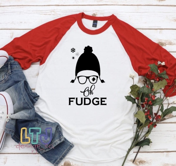 Christmas Shirt ~ Oh Fudge 3/4 Sleeve Raglan ~ A Christmas Story Shirt ~ Ralphie Shirt