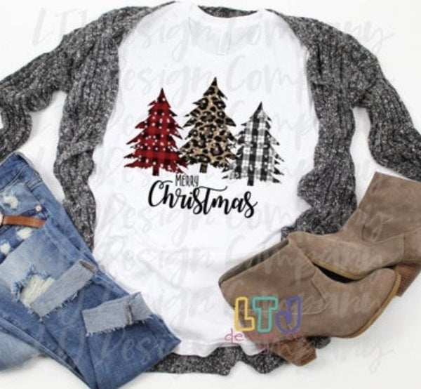 Christmas Shirt ~ Merry Christmas ~ Christmas Trees ~ Plaid Tree ~ Leopard Tree