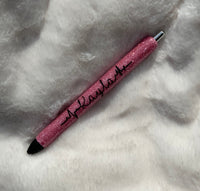 Glitter Personalized Gel Pens | Nurse Pen | Heartbeat Pen | Custom Pens | Custom Epoxy Glitter Pens