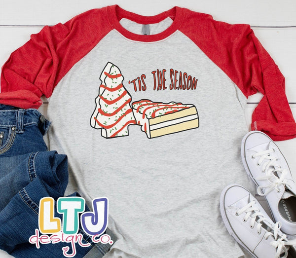 Little Debbie Christmas Tree Cake 3/4 Sleeve Raglan ~ Christmas Shirt ~ Tis the Season