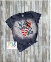 4th of July Shirt Bleached Short Sleeve Tee ~ American Flag ~ Patriotic Sunflower ~ Love America ~ Merica