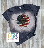 4th of July Shirt ~ Patriotic Sunflower Short Sleeve Bleached Shirt ~ Independence Day