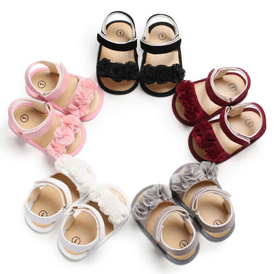 Summer Girls Sandals Newborn Baby Shoes Cute Beach Baby Girl Sandals Dotted Flower Baby Girl Shoes Leather Baby Sandals Sandy - ibootskids