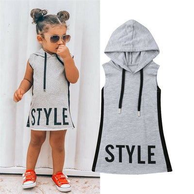 Baby Girl Clothes Hooded Dress For Kids Girls Dresses Summer Tunic Children Kid Letter Dress Casual Party Sundress 1-6T - ibootskids