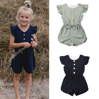 Kids Baby Girls Summer Bib pants Short Sleeve Infant Overalls Jumpsuit Toddler Clothes Sunsuit - ibootskids