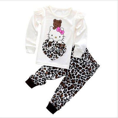 Cartoon Pajamas for Toddler girls 2-8Y Leopard hello kitty Cosplay Sleepwear Suit for Children girl 2pcs Clothes sets - ibootskids