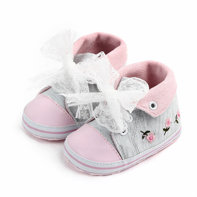 Baby Girl Shoes White Lace Floral Embroidered Soft Shoes Prewalker Walking Toddler Kids Shoes First Walker free shipping - ibootskids