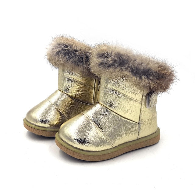 Leather Flat Baby Girls Snow Boots - ibootskids