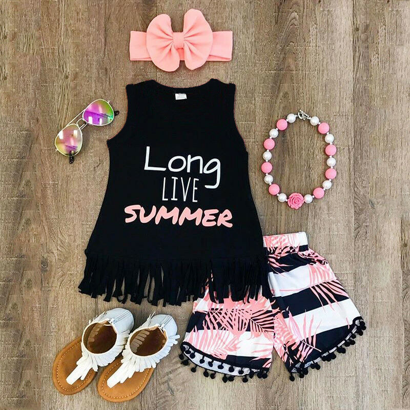 Summer 2 Pieces Children Toddler Kids Clothes Set Little Baby Girls Sleeveless T Shirt+Shorts Pants Outfit Clothing Set - ibootskids