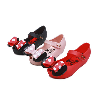 Mini Melissa New Jelly Sandals polk dot Mickey Bowknot Sandals Girl  jelly shoes Princess Sandals Comfortable Shoes - ibootskids